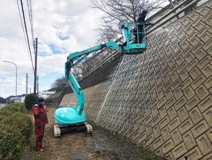 愛知県豊田市で擁壁清掃