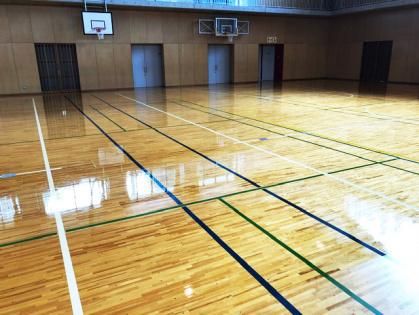 体育館木床フローリング 修繕リフォーム コーティング完了 全体